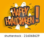 happy halloween card design... | Shutterstock .eps vector #216068629