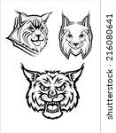 Head Logo Of A Wild Bobcat Or...