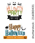 halloween party themed banners... | Shutterstock .eps vector #216083431