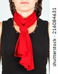 Red Silk Scarf On Neck