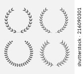 set of silhouette round laurel... | Shutterstock . vector #216090301