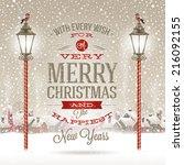 christmas greeting type design... | Shutterstock .eps vector #216092155
