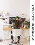 desk of creative worker.   ...   Shutterstock . vector #216094375