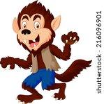 smiling cartoon werewolf   Shutterstock .eps vector #216096901