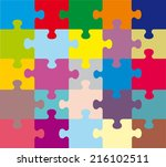 Abstract Composition Of Colored Puzzles Background Colorful