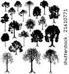 set of editable vector tree...   Shutterstock .eps vector #21610771