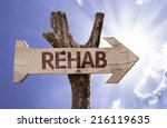 rehab wooden sign on a... | Shutterstock . vector #216119635