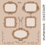 set of doodle spring frames... | Shutterstock .eps vector #216121639