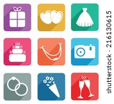 set of wedding icons | Shutterstock .eps vector #216130615