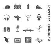 rap hip hop music black icons... | Shutterstock .eps vector #216132607