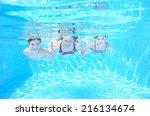 Happy Family Swim Underwater In ...