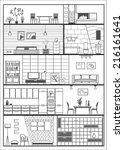 house interior silhouette....   Shutterstock .eps vector #216161641
