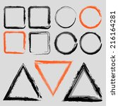 set of grunge charcoal frames...   Shutterstock .eps vector #216164281