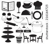 restaurant icons set | Shutterstock .eps vector #216164725