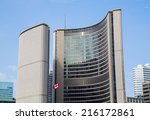 Stock photo toronto canada th september toronto city hall during the day with the canadian flag flying 216172861