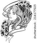 doodle  woman portrait | Shutterstock . vector #216177025
