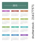 calendar 2015 year vector... | Shutterstock .eps vector #216177571