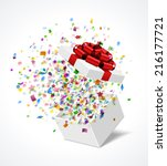 open gift box with red bow and... | Shutterstock .eps vector #216177721