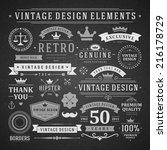 vintage vector design elements. ... | Shutterstock .eps vector #216178729