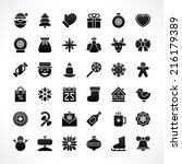 christmas icons vector set.... | Shutterstock .eps vector #216179389
