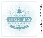 christmas retro typography and... | Shutterstock .eps vector #216179905