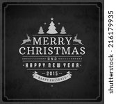 christmas retro typography and... | Shutterstock .eps vector #216179935