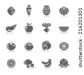 fruit and vegetables icons | Shutterstock .eps vector #216201301