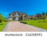big custom made luxury house... | Shutterstock . vector #216208591