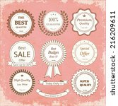 set of hand drawn badges on a... | Shutterstock . vector #216209611