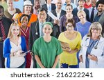 large group of diverse people... | Shutterstock . vector #216222241