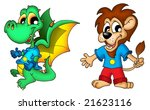 cartoon dragon and lion   color ... | Shutterstock . vector #21623116