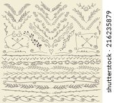 set of hand drawn lines border... | Shutterstock .eps vector #216235879