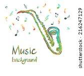 illustration of saxophone music ... | Shutterstock .eps vector #216247129