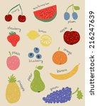 illustration of doodle fruits... | Shutterstock .eps vector #216247639