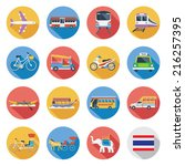 flat icons set   thailand... | Shutterstock .eps vector #216257395