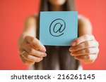 email icon drawing in hand | Shutterstock . vector #216261145