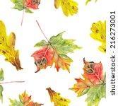 watercolor autumn leafs pattern  | Shutterstock . vector #216273001