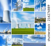 Small photo of coal power plant energy alternative energy sources windpower nuclear power collage set