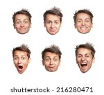 man's six big heads and... | Shutterstock . vector #216280471