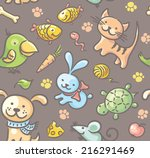 seamless pattern with pets and... | Shutterstock .eps vector #216291469