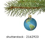 Christmas tree ball as Earth hanging on spruce branch over white background - stock photo