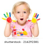 portrait of a cute little girl... | Shutterstock . vector #216292381