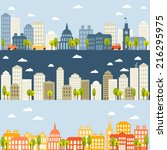 set of three banners with city... | Shutterstock .eps vector #216295975