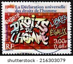 france   circa 2000  a stamp... | Shutterstock . vector #216303079