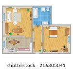 apartment plan | Shutterstock .eps vector #216305041