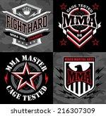 mma mixed martial arts emblem... | Shutterstock .eps vector #216307309