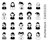 funny cartoon avatar icons set   | Shutterstock . vector #216311221