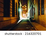 An Alley At Night  In Boston ...