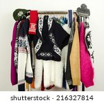 cute sweaters with snowflakes... | Shutterstock . vector #216327814