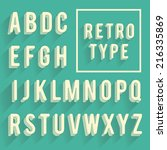 Retro poster alphabet. Retro font with shadow. Latin alphabet letters - stock vector